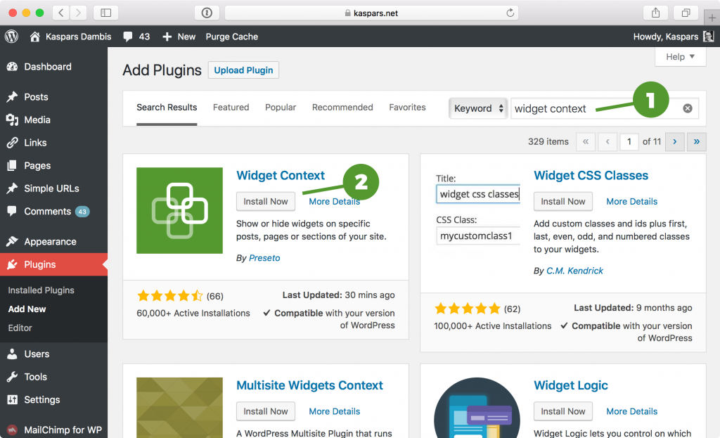 Install Widget Context plugin from your WordPress dashboard under Plugins → Add New.